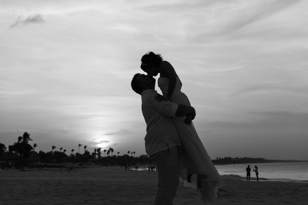 amazing beach wedding beautiful destination wedding dominican republic fun ocean outdoor ceremony palm trees sun water